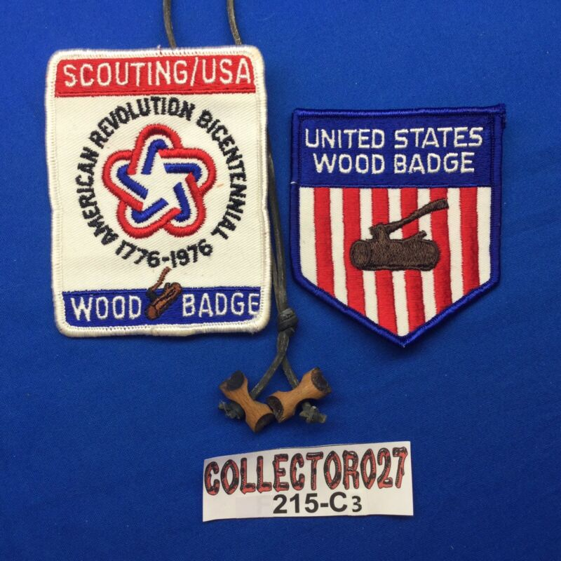 Boy Scout 2 U.S. Wood Badge Patches & Wood Badge Beads