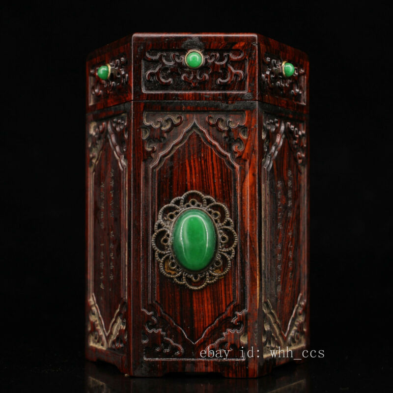 """5.2"""" China Old collection Rosewood Handmade Inlaid gems Tea caddy"""