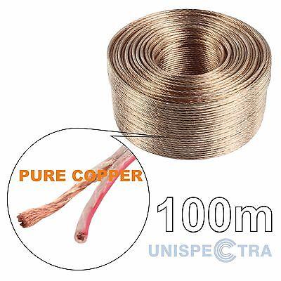 100m Puro Cobre Altavoz Cable de 2x1mm Ofc Libre de Oxígeno Casa...