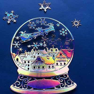 20 (5 sets) die Cuts SNOWGLOBE CHRISTMAS EVE in Rainbow MIRROR CARD Or BLUE etc.