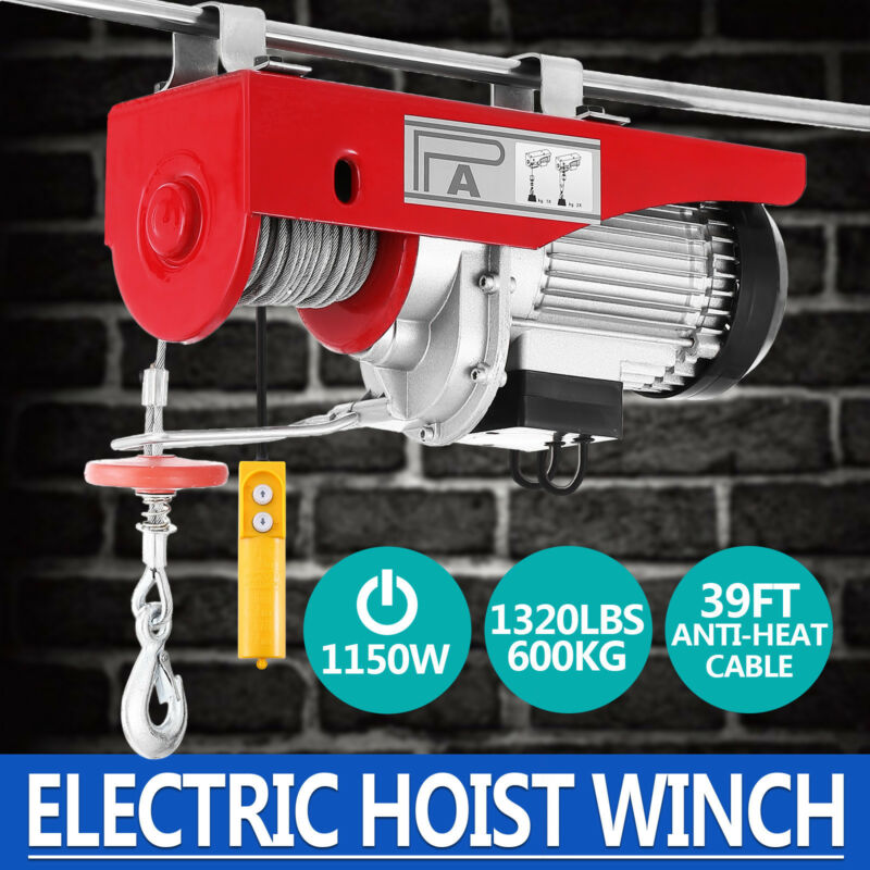 1320Lbs Electric Wire Hoist Remote Control Garage Auto Shop Overhead Lift