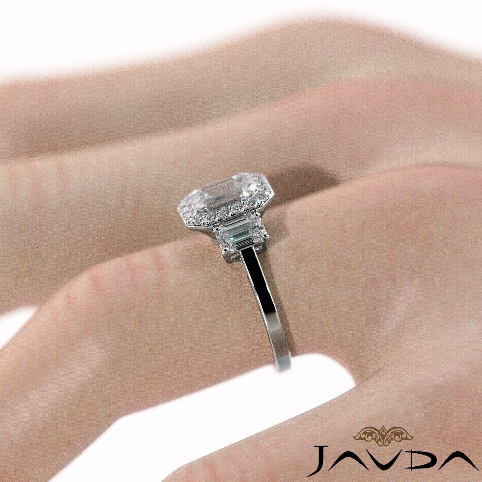1.55ctw 3 Stone Halo Pave Emerald Diamond Engagement Ring GIA F-SI2 White Gold 5