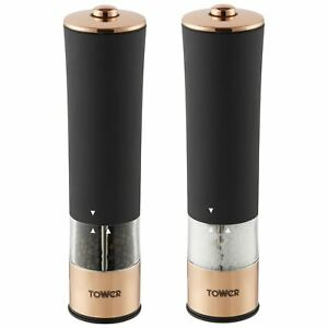 Tower Electric Salt & Pepper Mills Battery Grinders Set with LED Black/Rose Gold