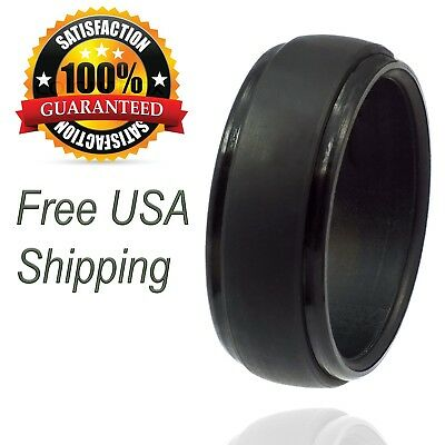 Groove Wedding Band (Silicone Wedding Ring for Men by LiveLife Black Groove Rubber Band (Single Pack) )