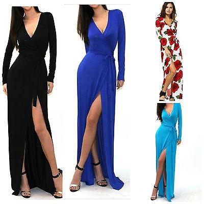Black Side Slit Maxi V-Neck Long Sleeve Wrap Dress Hippie Boho Chic 60s 70s Blue 70s Black Maxi Dress