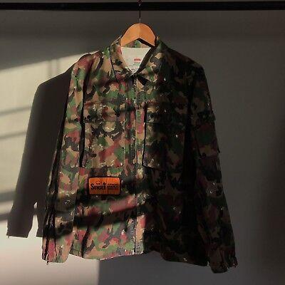 SUPREME BDU SWISS CAMO SHIRT UTILITY JACKET MILITARY BOX LOGO FUNERAL SS17 M Camo Bdu Military Shirt Jacket