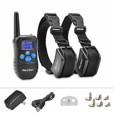 Petrainer Rechargeable Electric Shock Vibra Remote Dog Pet Safe Training Collar