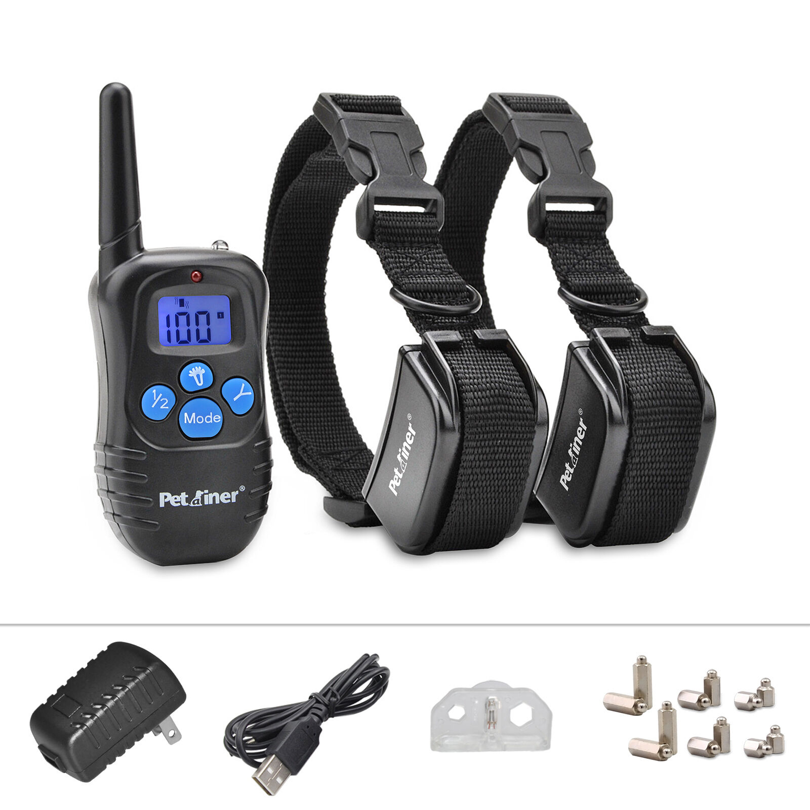 Petraniner Rechargeable 2 Dog Training Collar Electric Remote Shock collar,330yd
