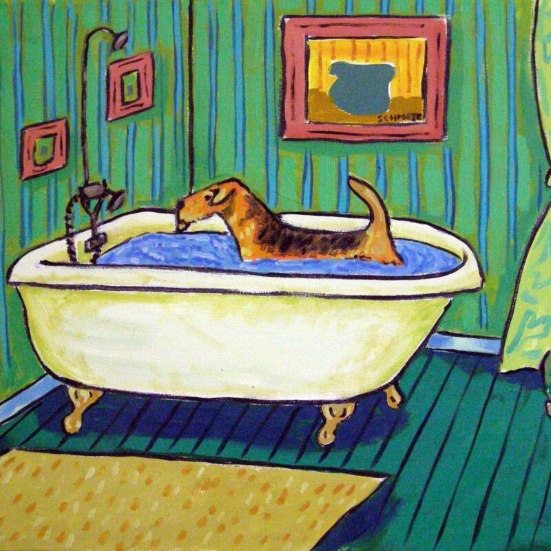 Airedale Terrier bath picture animal dog art tile gift coaster green