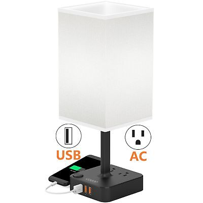 COZOO USB Bedside Table & Desk Lamp with 3 USB Charging Port