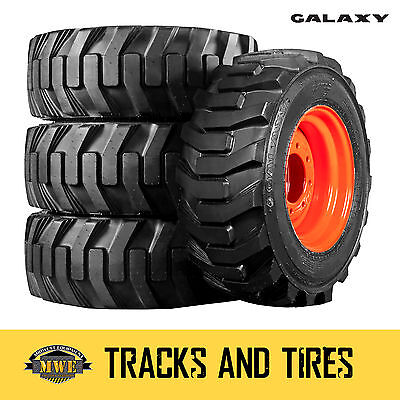 4 New 10-16.5 Galaxy Xd2010 Skid Steer Tires - Choose From 7 Rim Colors