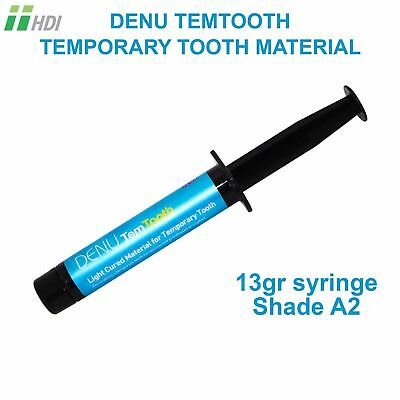 Denu Temtooth Temporary Light Cure Tooth Teeth Dental Crown A2 13g R Syringe