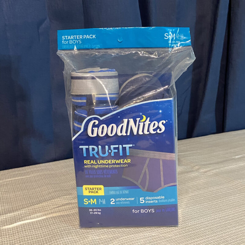GoodNites Trufit Starter Kit Sz Boy S M Real Underwear with Nighttime Protection