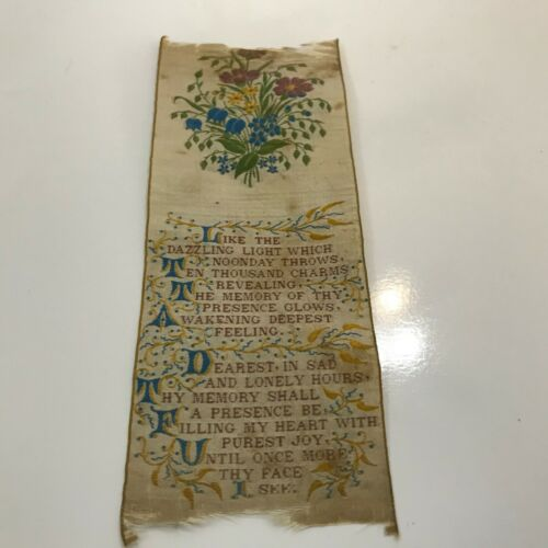 "Victorian Silk Embroidered Woven Bookmark..""In Memory"""