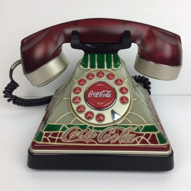 Vintage Stained Glass Look • Collectable Coca Cola Coke Desk Landline Telephone