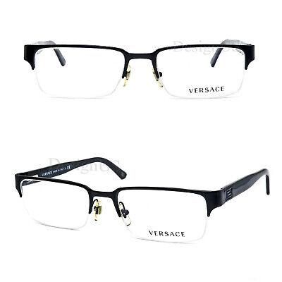 Versace MOD. 1184 1261 Matte Black 53/18/140 Eyeglasses Rx Made Italy - New
