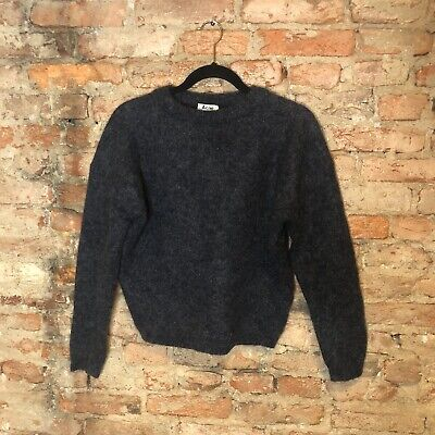 Acne Studios Womens Sweater Size XS Gray Drop Shoulder Sleeve Kid Mohair