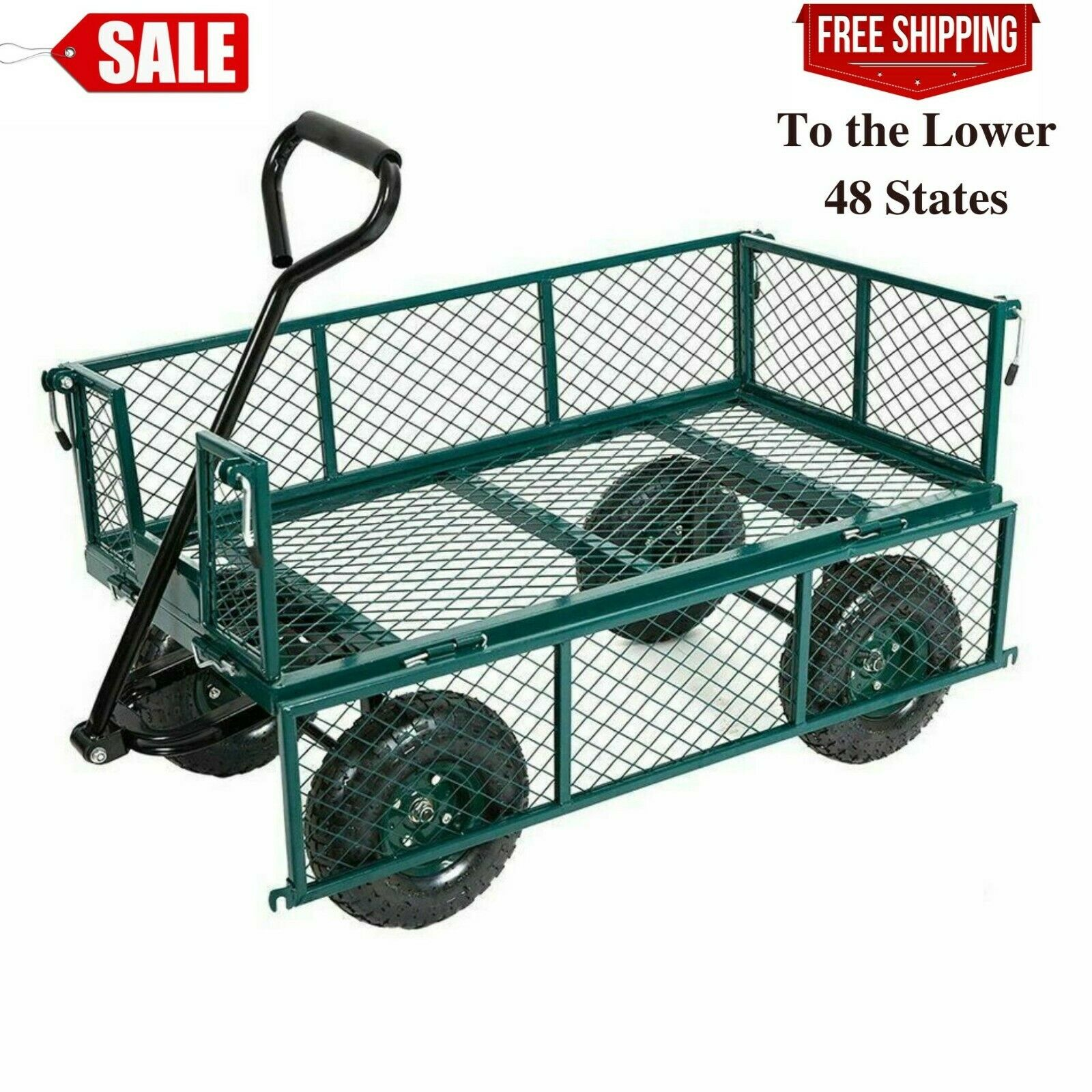 550lbs Garden Cart Heavy Duty Dump Utility Wagon Outdoor Law