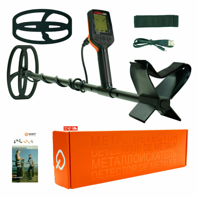"""QUEST X5 Metal Detector With 9""""X5"""" Waterproof Search Coil DF6"""