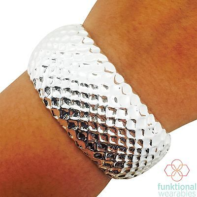 LIBBY Silver Bracelet Securely Hides Fitbit Flex/Flex 2 Fitness Activity Tracker