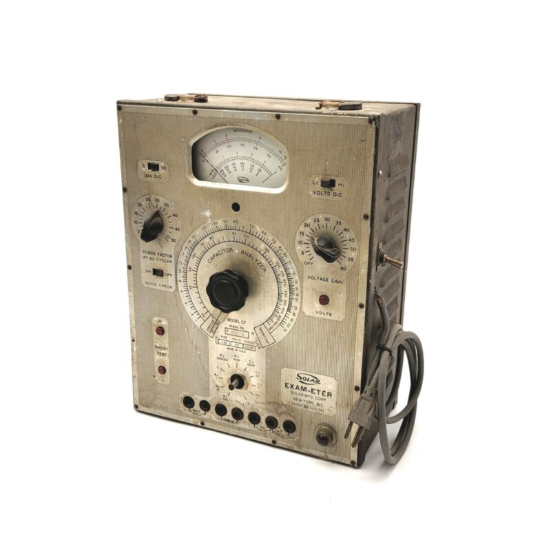 Vintage Solar Model CF EXAM-ETER Capacitor Analyzer 115VAC 50/60Hz *Untested*