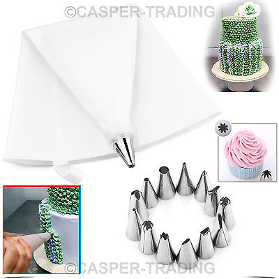 24Pcs Cake Decorating Icing Piping Nozzles Bag Tools Set Cupcake Sugercraft Cup