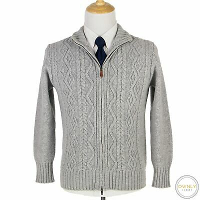 Inis Meain Grey Wool Cable Knit Chunky Ireland Full Zip Bomber Sweater Jacket M