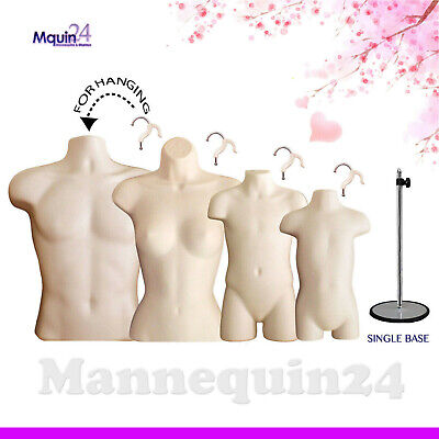 4 Flesh Mannequins Set Male Female Child Toddler Torso Forms 4 Hangers 1 Stand