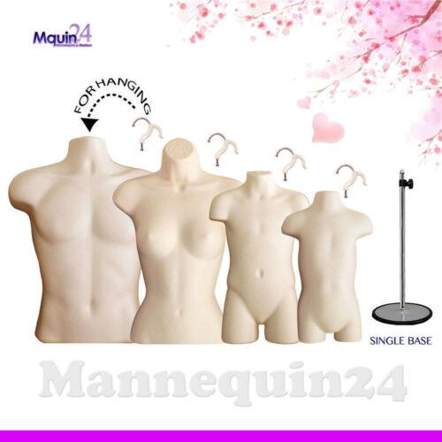 Set of Male Female Child Toddler Mannequin Torsos Flesh & 4 Hangers, 1 Stand