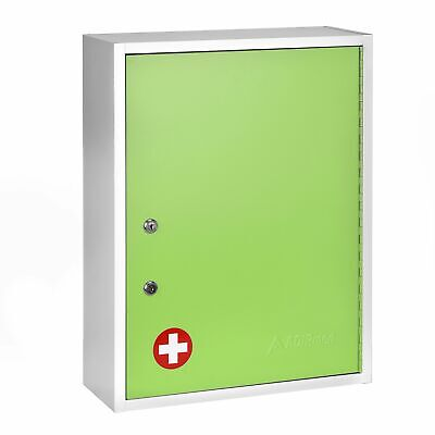 Adirmed Green Steel Large Wall Mount Dual Lock Medical Security Medicine Cabinet