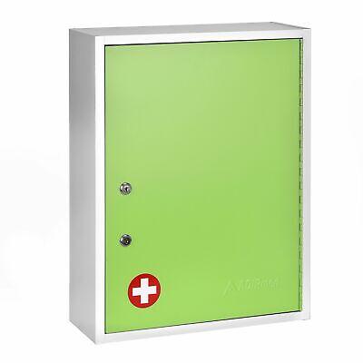 Adirmed Green Steel Large Wall Mount Dual Lock Medical Security Medicine Cabinet