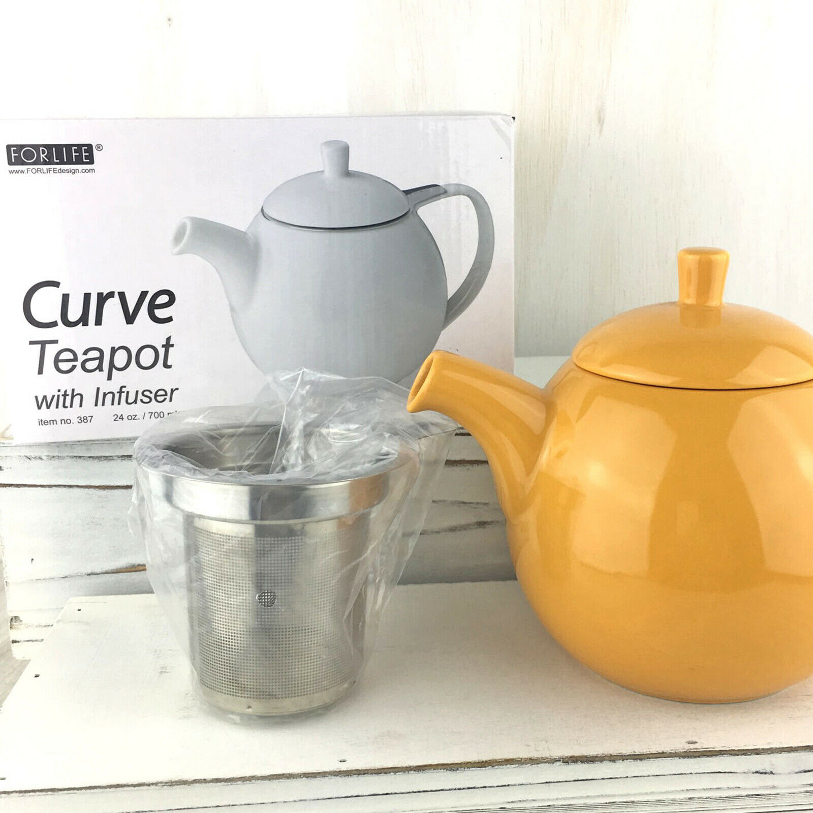 FORLIFE Curve Teapot with Infuser 24-Ounce Mandrin Yellow Te