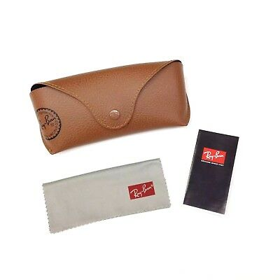 NEW Ray Ban Genuine Brown Sunglasses Eyeglasses Case with Cleaning Cloth & Book