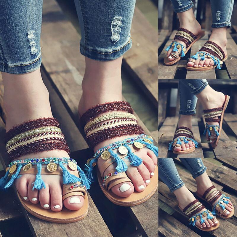 Women Ladies Flat Boho Tassel Sandals Summer Beach Slippers