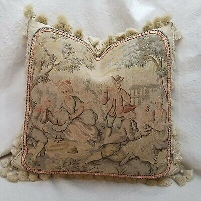 Pair of Wool Needlepoint Pillows Featuring  French Antique Bow Set and Tea Cup