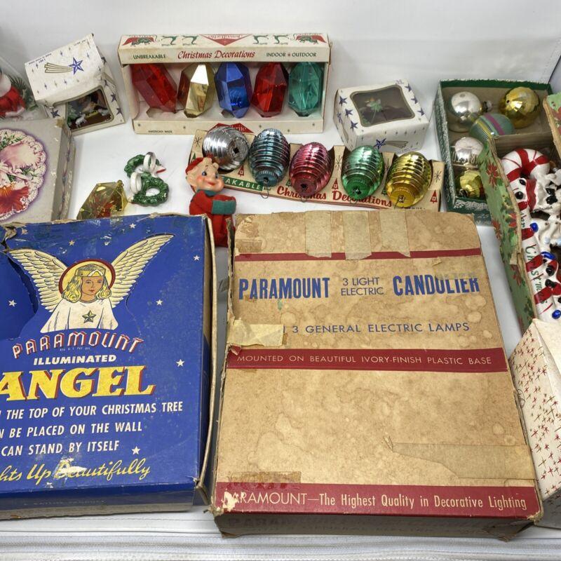 Vintage Christmas Ornament Decoration LOT, 40's Tree Topper, Paramount Paragon