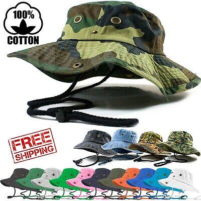 Mens Outdoor Boonie Bucket Hat Fishing Camping Military 100% Cotton Safari -