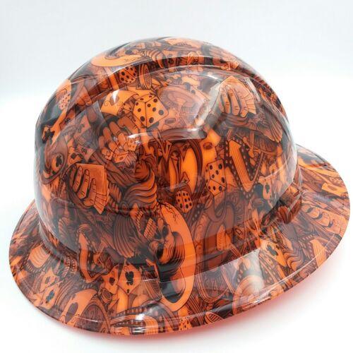 FULL BRIM Hard Hat custom hydro dipped , NEW DEALERS CHOICE ORANGE HOT NEW 1