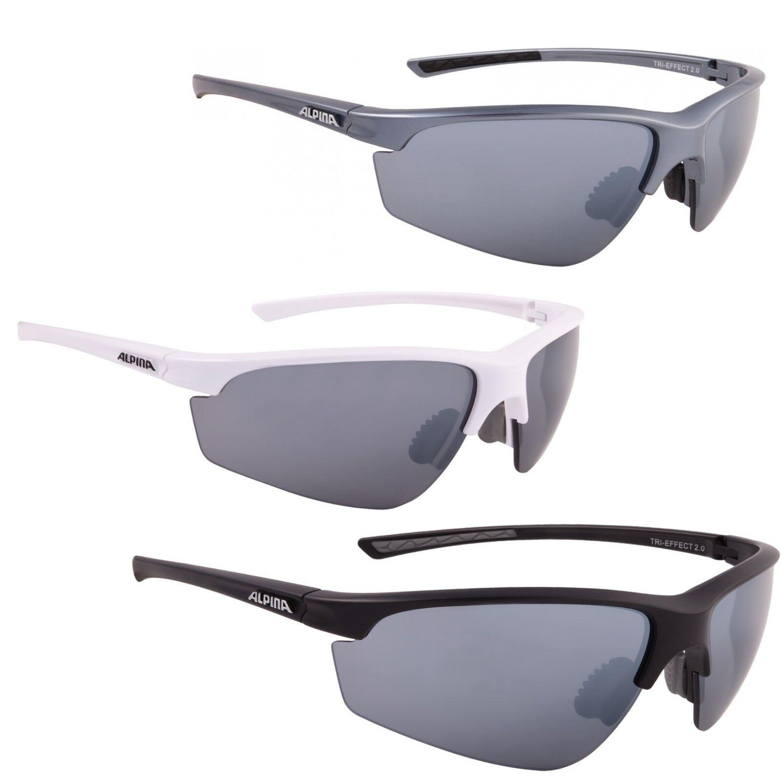 Radbrillen Alpina Fahrradbrille Sportbrille Sonnenbrille Brille TRI-EFFECT 2.0 white