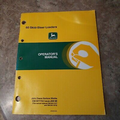 John Deere 60 Skid Steer Loader Operators Manual Omm77702