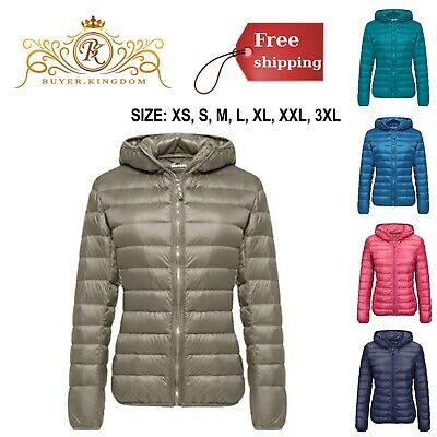Women Down Jacket Coat Hooded Puffer Packable Short Weather Resistant Nylon (Best Packable Puffer Jacket)