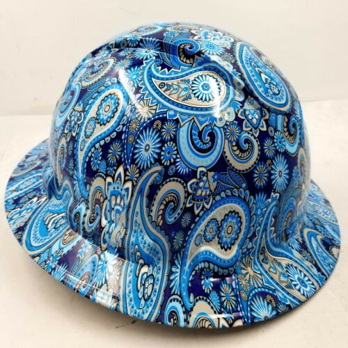 New Full Brim Hard Hat Custom Hydro Dipped Blue Brad Paisleys . Free Shipping! 1