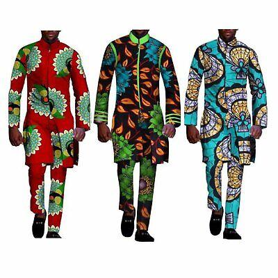 2 Piece Top Pants Ankara Dashiki Cotton Print Style African Clothing For (Men's Ankara Styles)