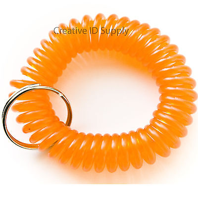 WHOLESALE 12 24 50 100 PCS SPIRAL WRIST COIL KEY CHAIN KEY RING HOLDER ORANGE