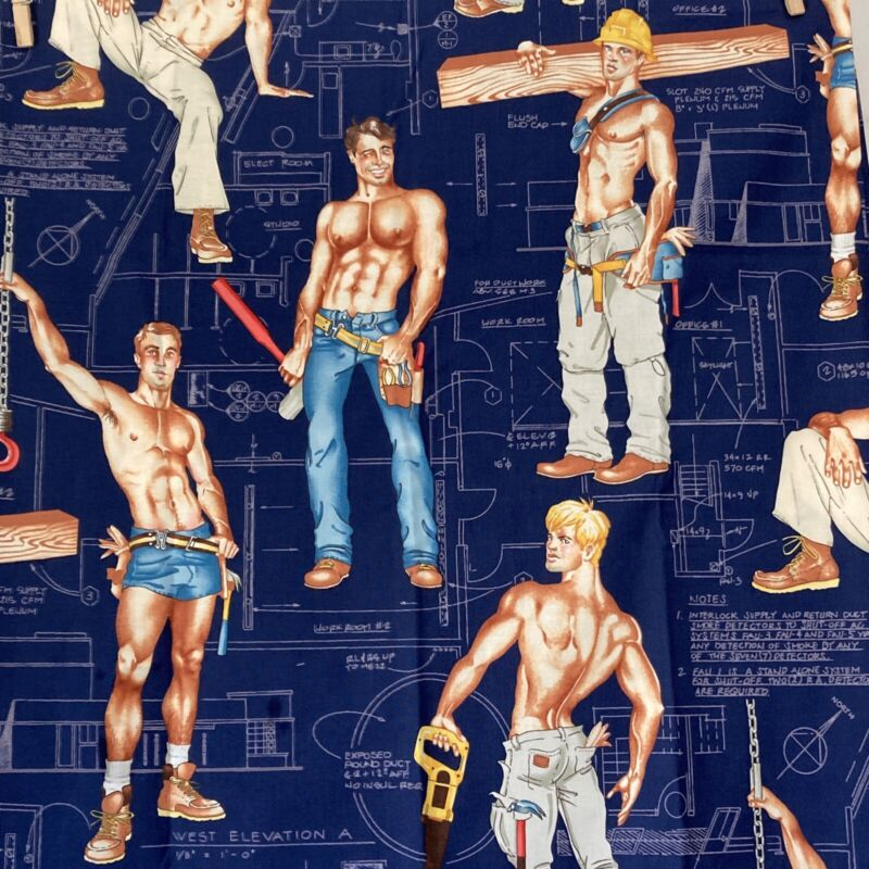 1.5 YDS Alexander Henry Heavy Equipment Cotton Fabric Construction Workers Blue
