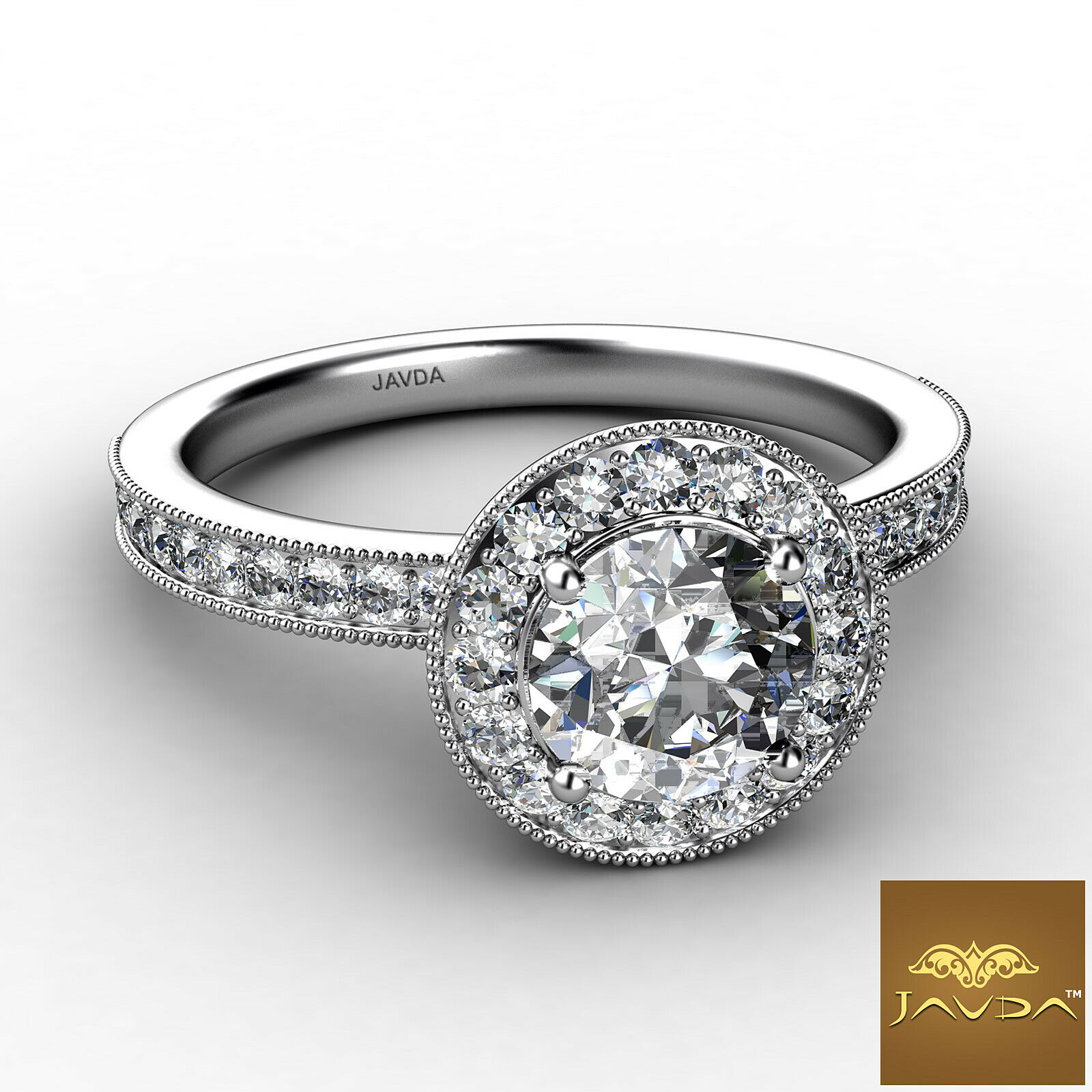 0.9ctw Halo Milgrain Sidestone Round Diamond Engagement Ring GIA F-VVS2 W Gold 1