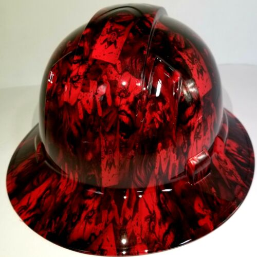 FULL BRIM Hard Hat custom hydro dipped , NEW CANDY RED RADIATION JOKER HA HA 2