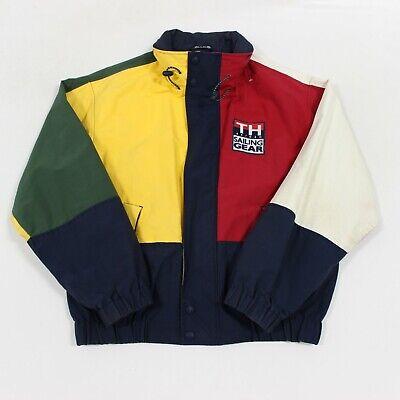 VTG 90s Tommy Hilfiger Sailing Gear Colorblock Flag Spell Out Jacket Men's Large