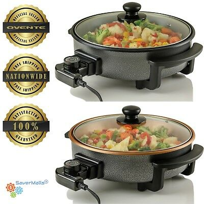 Ovente Electric Skillet with Non-Stick Aluminum Body Cool-Touch Handles 1400-Wat
