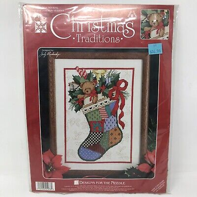 Designs for the Needle Christmas Traditions 1978 Victorian Bear Stocking New Kit